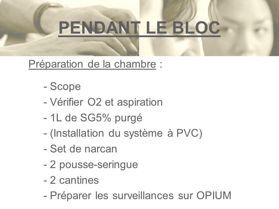 PENDANT LE BLOC Préparation de la chambre : - Scope - Vérifier O2 et aspiration - 1L de SG5% purgé - (Installation du système à PVC) - Set de narcan -