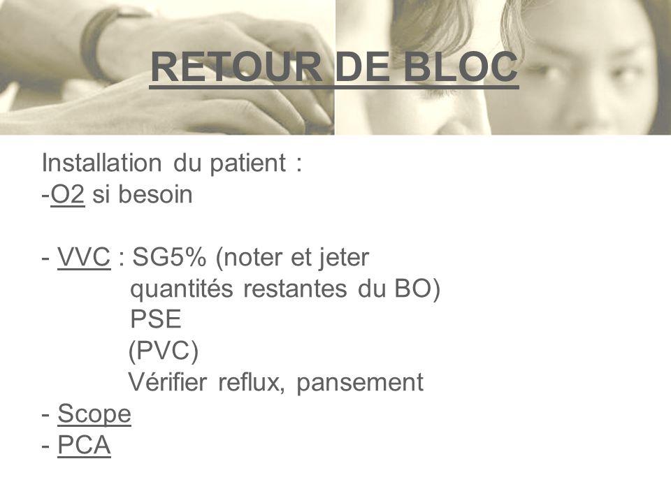 RETOUR DE BLOC Installation du patient : -O2 si besoin - VVC : SG5% (noter et jeter quantités restantes du BO) PSE (PVC) Vérifier reflux, pansement -
