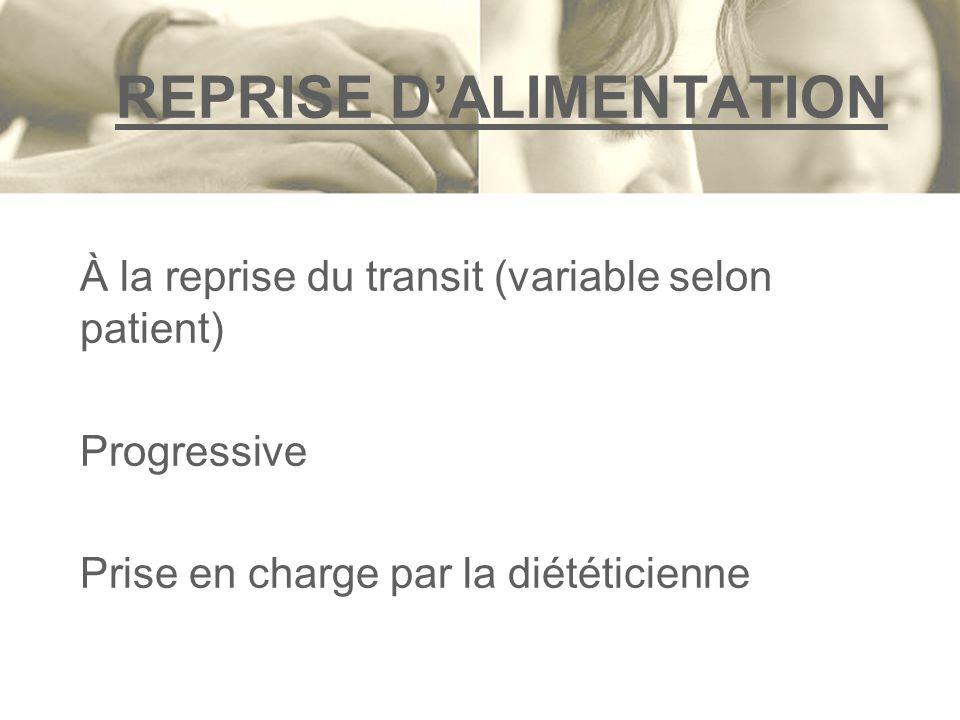 REPRISE DALIMENTATION À la reprise du transit (variable selon patient) Progressive Prise en charge par la diététicienne