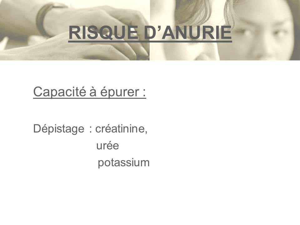 RISQUE DANURIE Capacité à épurer : Dépistage : créatinine, urée potassium