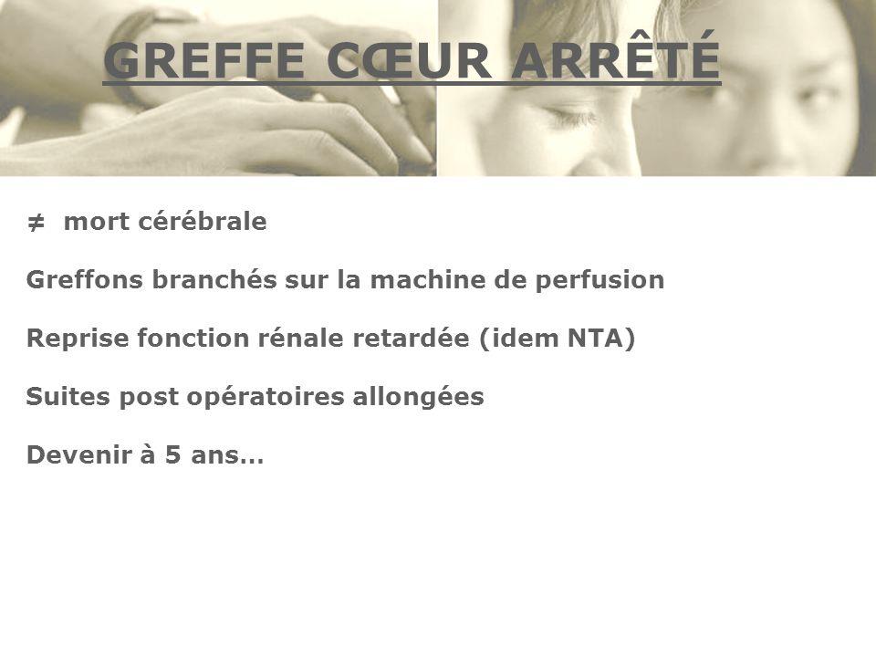 GREFFE CŒUR ARRÊTÉ mort cérébrale Greffons branchés sur la machine de perfusion Reprise fonction rénale retardée (idem NTA) Suites post opératoires al