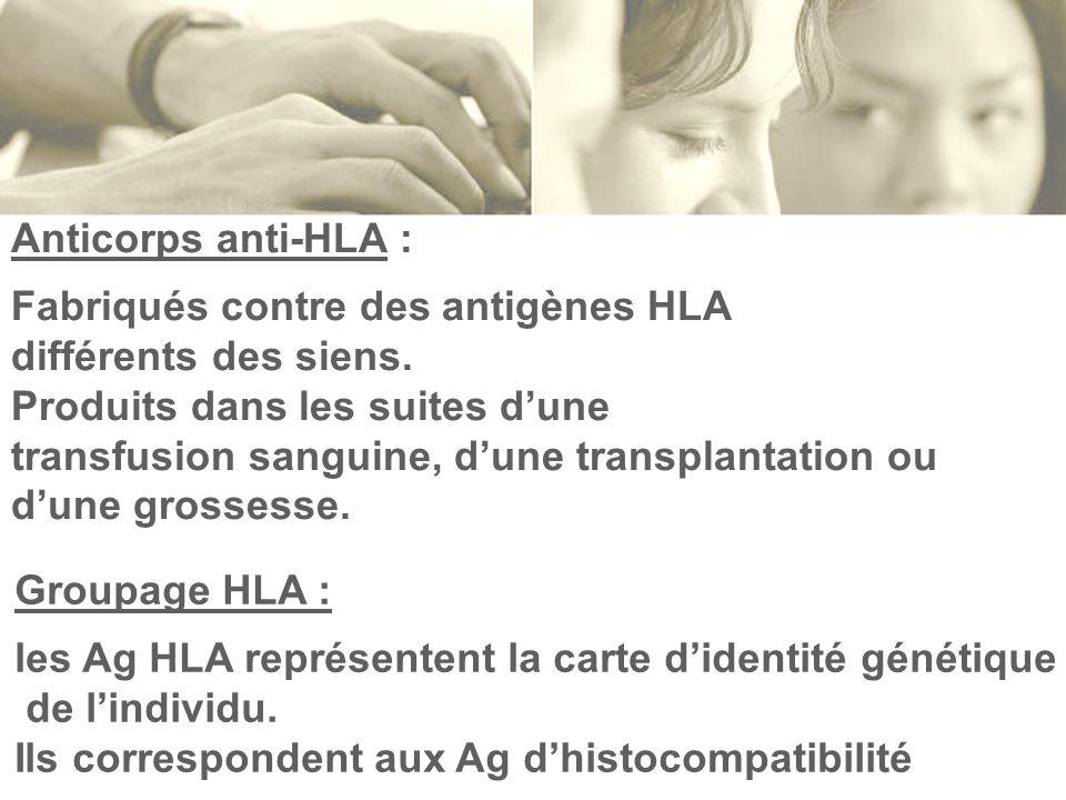 Anticorps anti-HLA : Fabriqués contre des antigènes HLA différents des siens. Produits dans les suites dune transfusion sanguine, dune transplantation