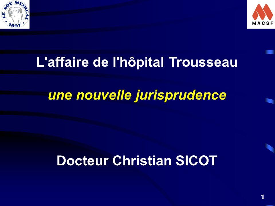 1 L'affaire de l'hôpital Trousseau une nouvelle jurisprudence Docteur Christian SICOT