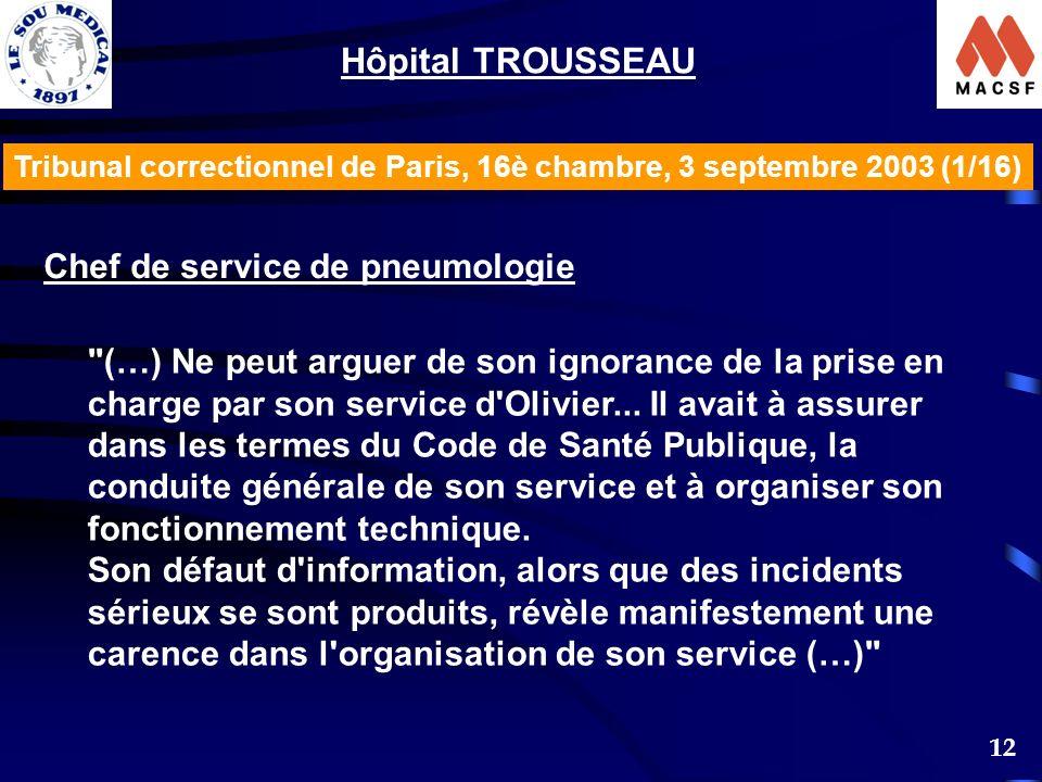 12 Tribunal correctionnel de Paris, 16è chambre, 3 septembre 2003 (1/16) Hôpital TROUSSEAU Chef de service de pneumologie (…) Ne peut arguer de son ignorance de la prise en charge par son service d Olivier...