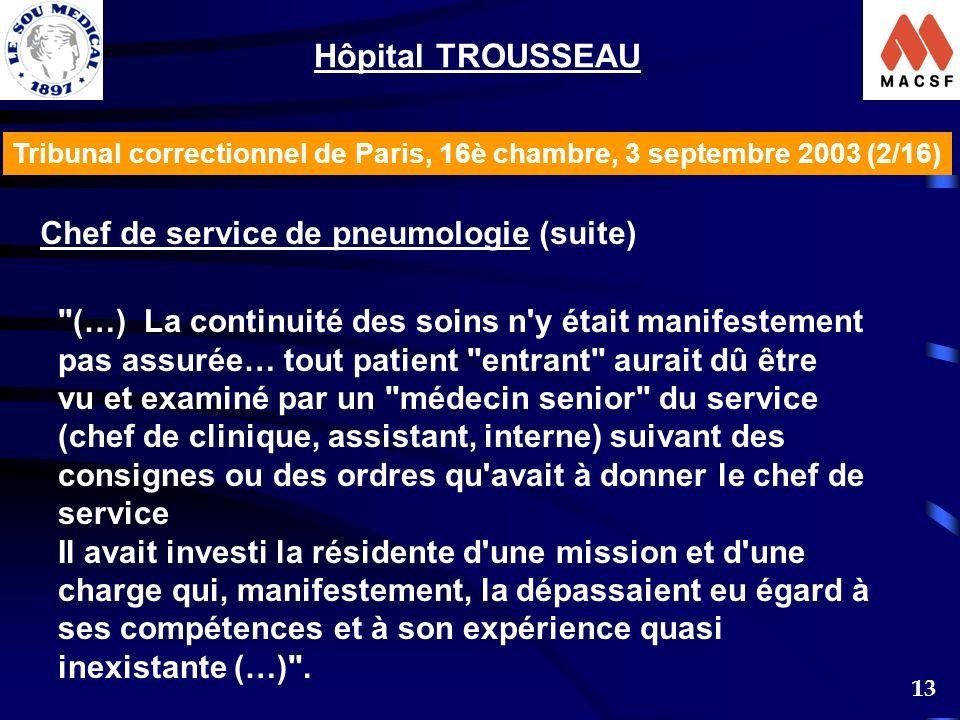 13 Tribunal correctionnel de Paris, 16è chambre, 3 septembre 2003 (2/16) Hôpital TROUSSEAU Chef de service de pneumologie (suite)