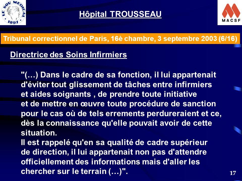 17 Tribunal correctionnel de Paris, 16è chambre, 3 septembre 2003 (6/16) Hôpital TROUSSEAU Directrice des Soins Infirmiers