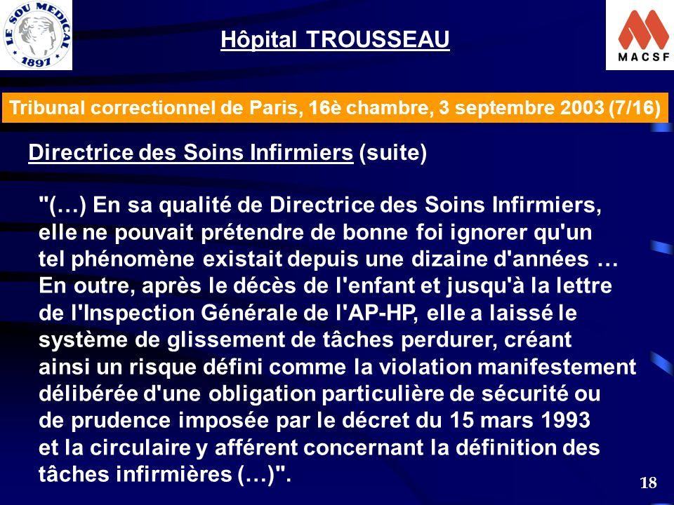 18 Tribunal correctionnel de Paris, 16è chambre, 3 septembre 2003 (7/16) Hôpital TROUSSEAU Directrice des Soins Infirmiers (suite) (…) En sa qualité de Directrice des Soins Infirmiers, elle ne pouvait prétendre de bonne foi ignorer qu un tel phénomène existait depuis une dizaine d années … En outre, après le décès de l enfant et jusqu à la lettre de l Inspection Générale de l AP-HP, elle a laissé le système de glissement de tâches perdurer, créant ainsi un risque défini comme la violation manifestement délibérée d une obligation particulière de sécurité ou de prudence imposée par le décret du 15 mars 1993 et la circulaire y afférent concernant la définition des tâches infirmières (…) .
