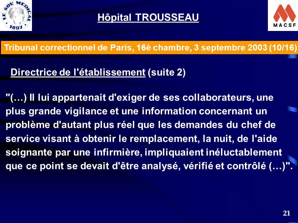 21 Tribunal correctionnel de Paris, 16è chambre, 3 septembre 2003 (10/16) Hôpital TROUSSEAU Directrice de l'établissement (suite 2)