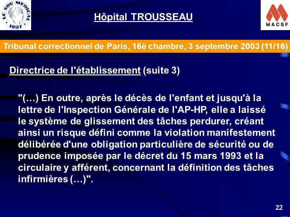 22 Tribunal correctionnel de Paris, 16è chambre, 3 septembre 2003 (11/16) Hôpital TROUSSEAU Directrice de l établissement (suite 3) (…) En outre, après le décès de l enfant et jusqu à la lettre de l Inspection Générale de l AP-HP, elle a laissé le système de glissement des tâches perdurer, créant ainsi un risque défini comme la violation manifestement délibérée d une obligation particulière de sécurité ou de prudence imposée par le décret du 15 mars 1993 et la circulaire y afférent, concernant la définition des tâches infirmières (…) .