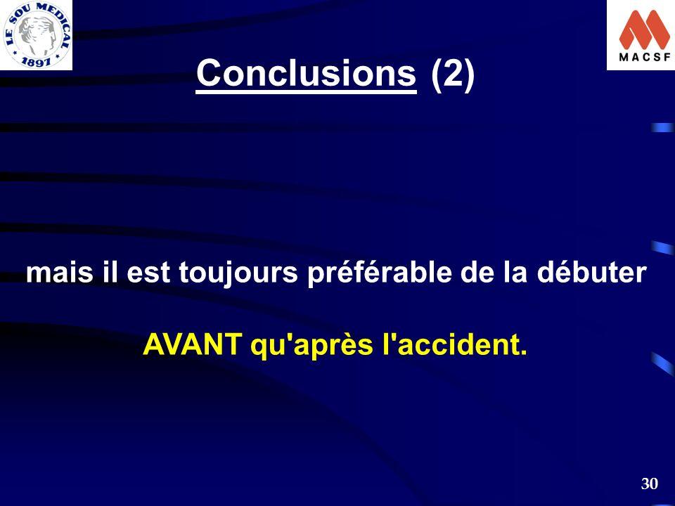 30 Conclusions (2) mais il est toujours préférable de la débuter AVANT qu'après l'accident.