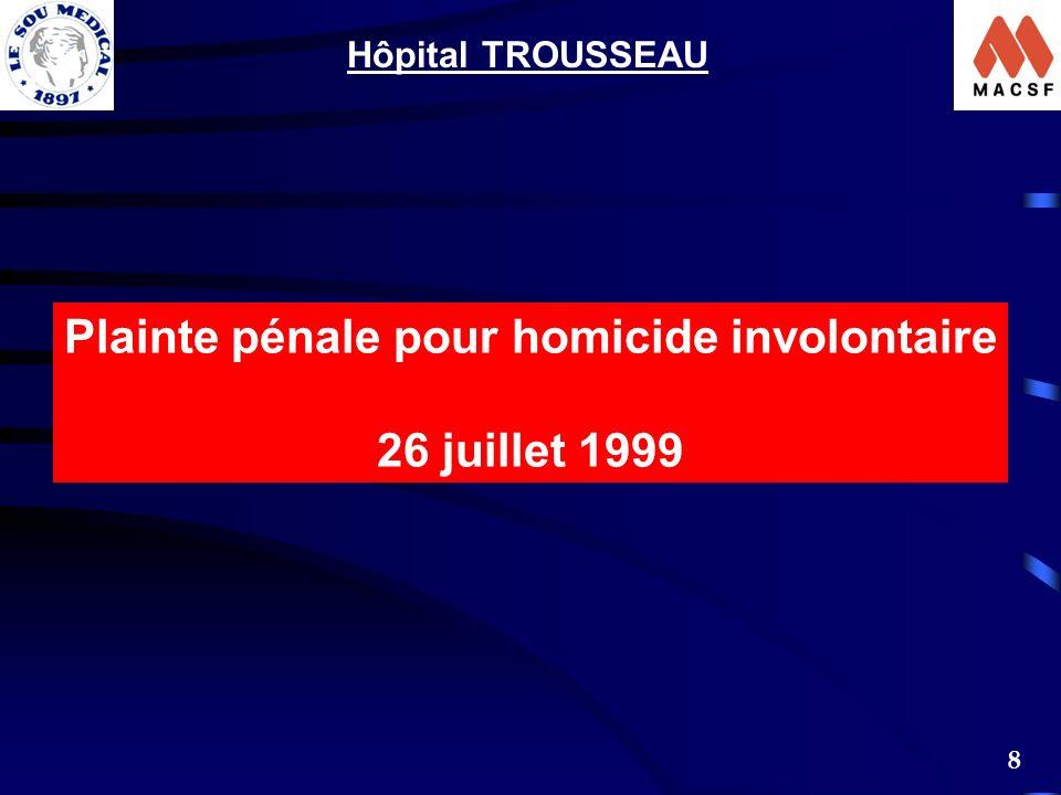 8 Plainte pénale pour homicide involontaire 26 juillet 1999 Hôpital TROUSSEAU
