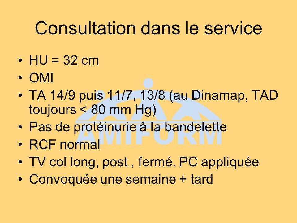 Consultation dans le service HU = 32 cm OMI TA 14/9 puis 11/7, 13/8 (au Dinamap, TAD toujours < 80 mm Hg) Pas de protéinurie à la bandelette RCF normal TV col long, post, fermé.