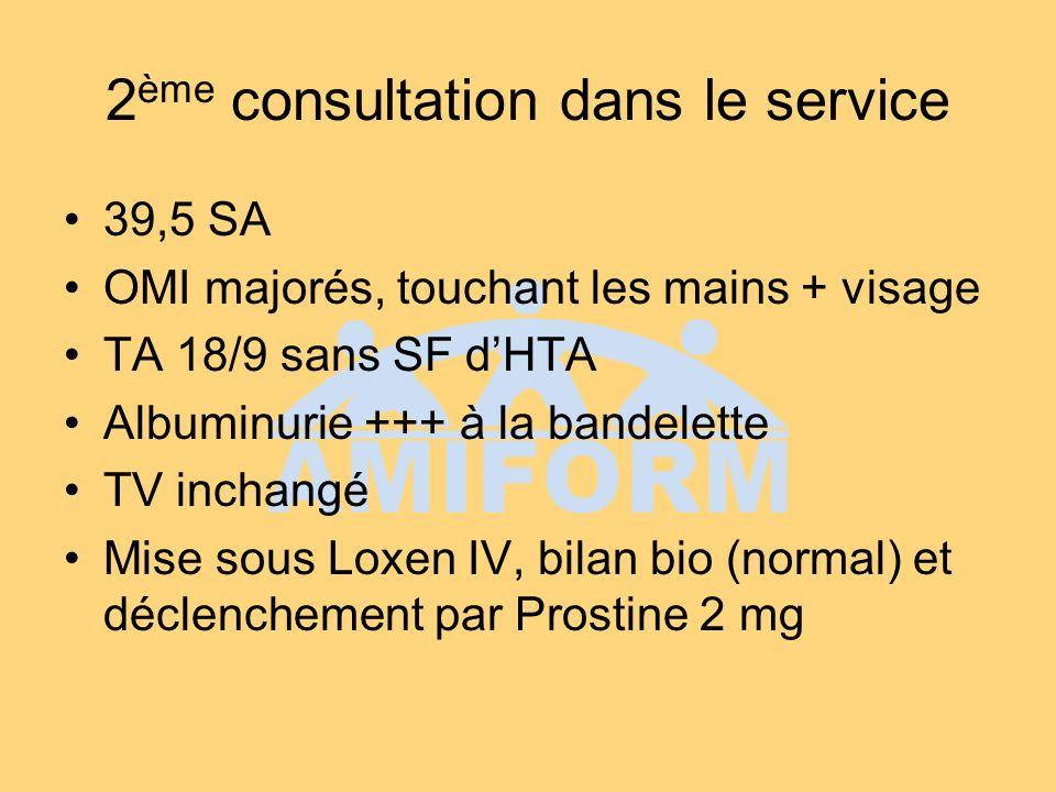 2 ème consultation dans le service 39,5 SA OMI majorés, touchant les mains + visage TA 18/9 sans SF dHTA Albuminurie +++ à la bandelette TV inchangé Mise sous Loxen IV, bilan bio (normal) et déclenchement par Prostine 2 mg