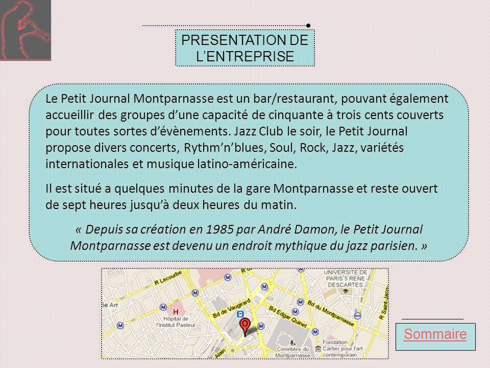 Sommaire PRESENTATION DE LENTREPRISE Le Petit Journal Montparnasse est un bar/restaurant, pouvant également accueillir des groupes dune capacité de cinquante à trois cents couverts pour toutes sortes dévènements.