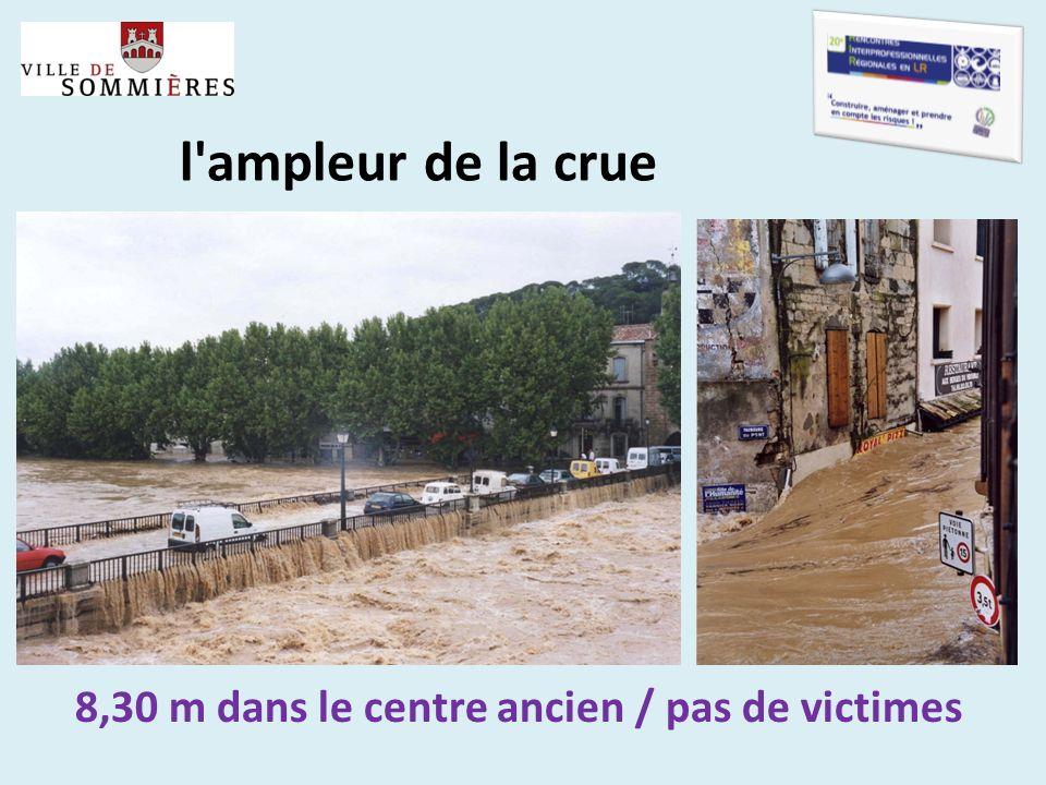 l'ampleur de la crue 8,30 m dans le centre ancien / pas de victimes