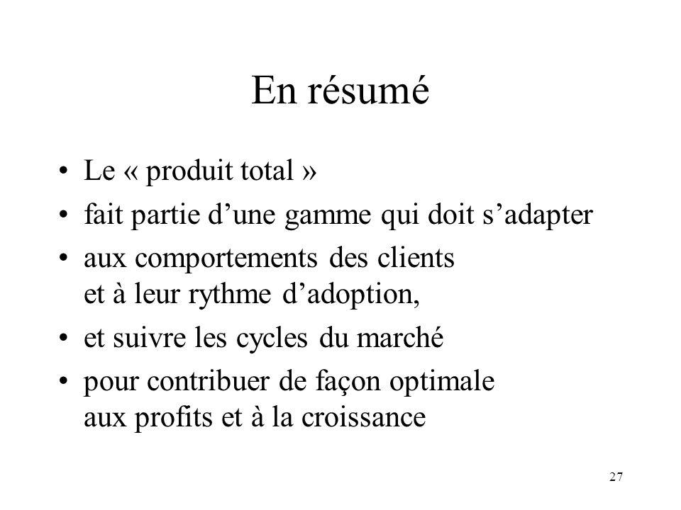 27 En résumé Le « produit total » fait partie dune gamme qui doit sadapter aux comportements des clients et à leur rythme dadoption, et suivre les cyc