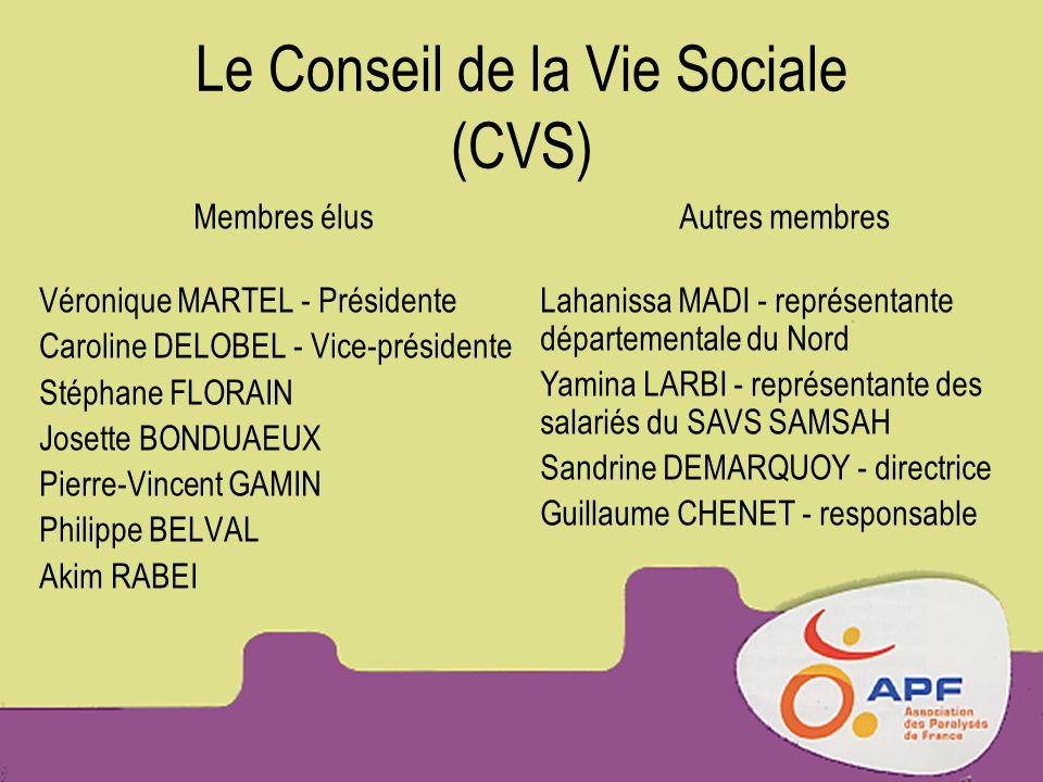 Le Conseil de la Vie Sociale (CVS) Membres élus Véronique MARTEL - Présidente Caroline DELOBEL - Vice-présidente Stéphane FLORAIN Josette BONDUAEUX Pi