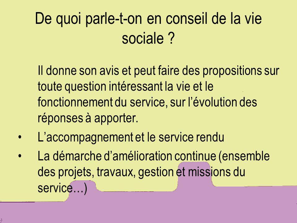 De quoi parle-t-on en conseil de la vie sociale ? Il donne son avis et peut faire des propositions sur toute question intéressant la vie et le fonctio