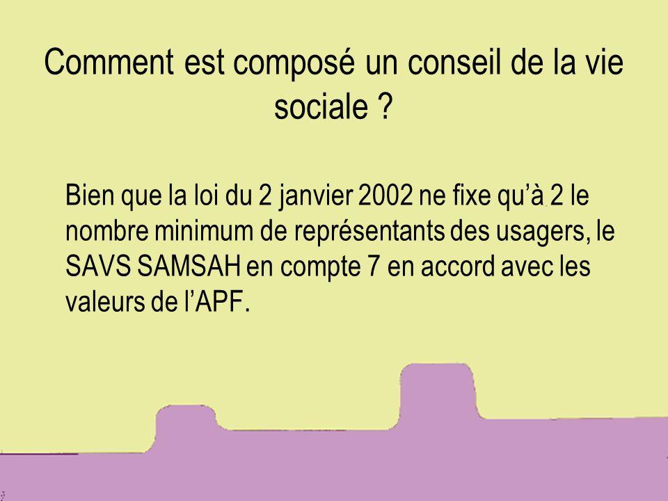 Comment est composé un conseil de la vie sociale ? Bien que la loi du 2 janvier 2002 ne fixe quà 2 le nombre minimum de représentants des usagers, le