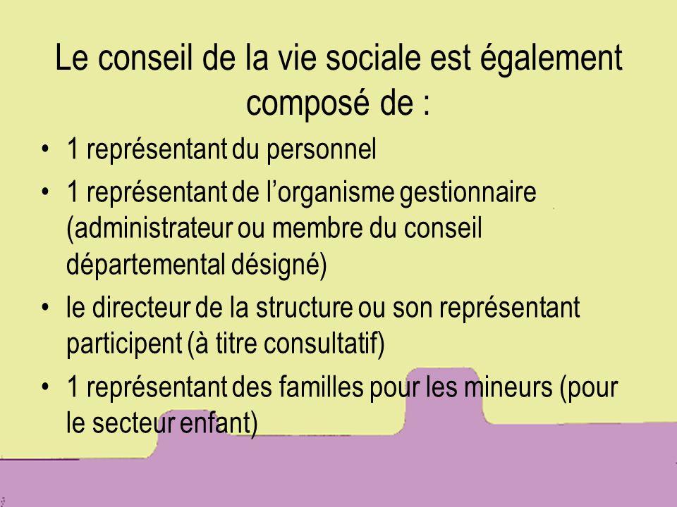 Le conseil de la vie sociale est également composé de : 1 représentant du personnel 1 représentant de lorganisme gestionnaire (administrateur ou membr