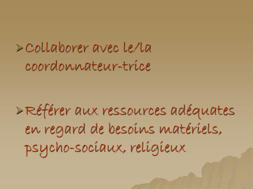 Collaborer avec le/la coordonnateur-trice Collaborer avec le/la coordonnateur-trice Référer aux ressources adéquates en regard de besoins matériels, p