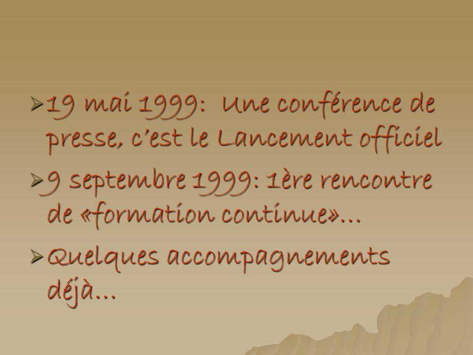 19 mai 1999: Une conférence de presse, cest le Lancement officiel 19 mai 1999: Une conférence de presse, cest le Lancement officiel 9 septembre 1999: