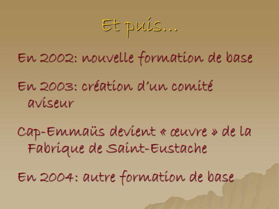 Et puis… En 2002: nouvelle formation de base En 2003: création dun comité aviseur Cap-Emmaüs devient « œuvre » de la Fabrique de Saint-Eustache En 200