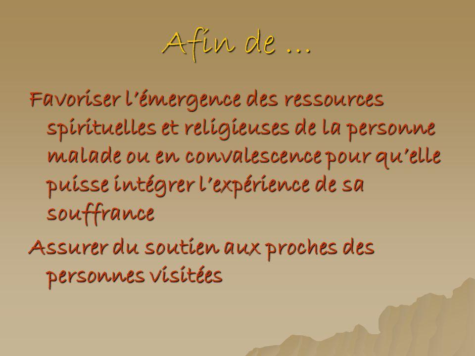 Afin de … Favoriser lémergence des ressources spirituelles et religieuses de la personne malade ou en convalescence pour quelle puisse intégrer lexpér