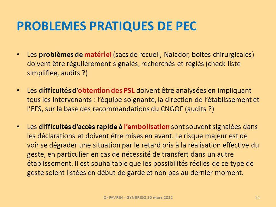 PROBLEMES PRATIQUES DE PEC Les problèmes de matériel (sacs de recueil, Nalador, boites chirurgicales) doivent être régulièrement signalés, recherchés