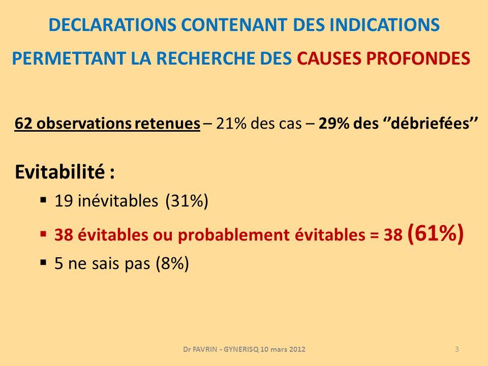 DECLARATIONS CONTENANT DES INDICATIONS PERMETTANT LA RECHERCHE DES CAUSES PROFONDES 62 observations retenues – 21% des cas – 29% des débriefées Evitab