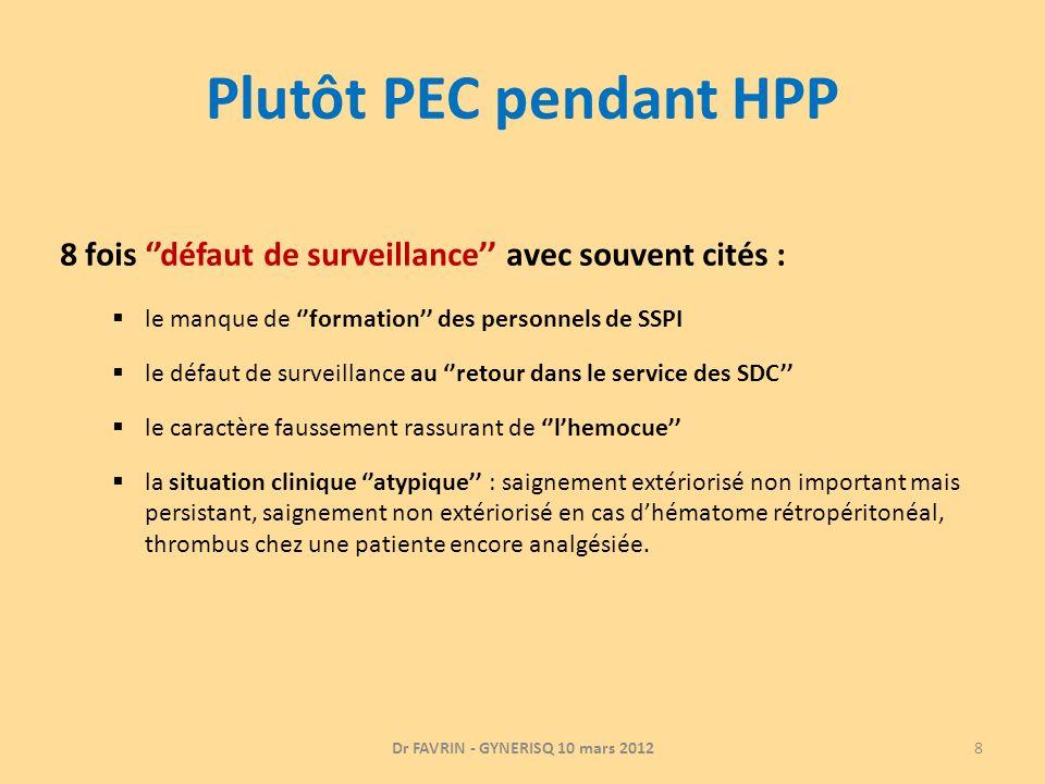Plutôt PEC pendant HPP 8 fois défaut de surveillance avec souvent cités : le manque de formation des personnels de SSPI le défaut de surveillance au r