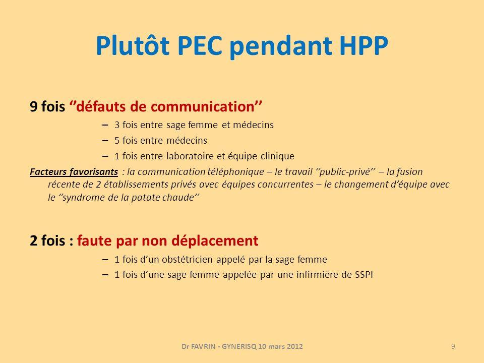 Plutôt PEC pendant HPP 9 fois défauts de communication – 3 fois entre sage femme et médecins – 5 fois entre médecins – 1 fois entre laboratoire et équ