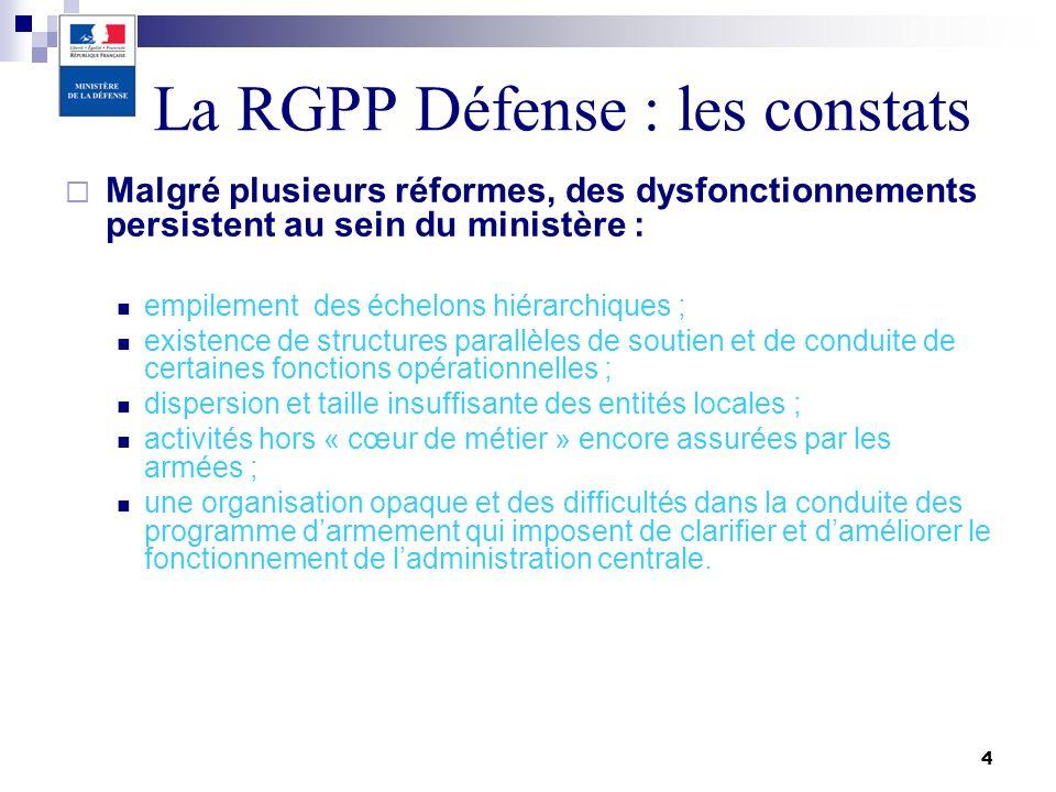 4 La RGPP Défense : les constats Malgré plusieurs réformes, des dysfonctionnements persistent au sein du ministère : empilement des échelons hiérarchi