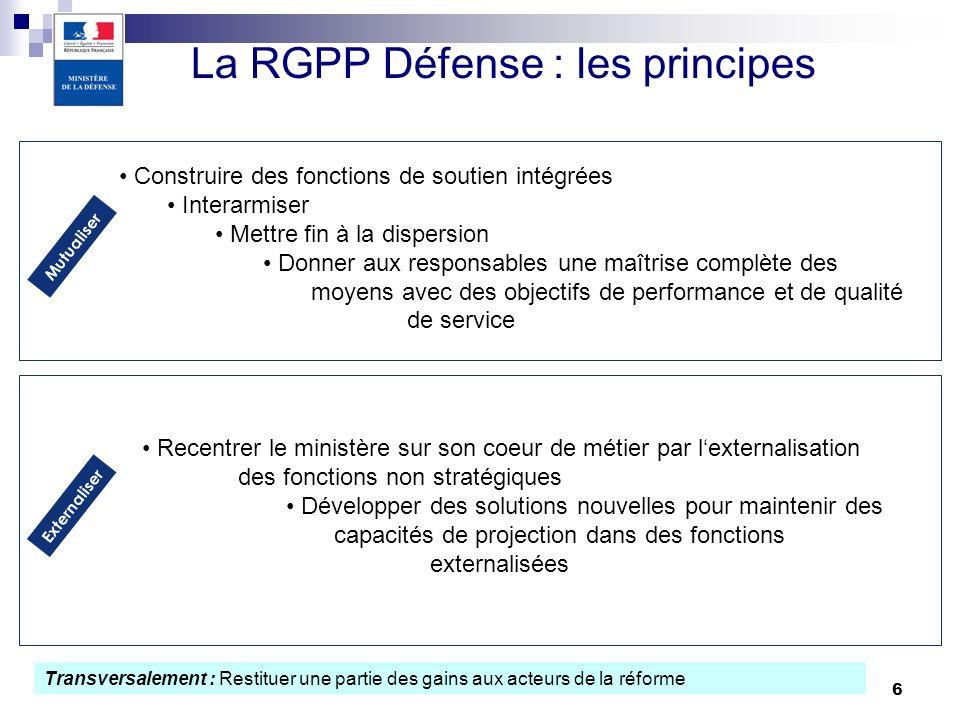 6 La RGPP Défense : les principes Mutualiser Construire des fonctions de soutien intégrées Interarmiser Mettre fin à la dispersion Donner aux responsa