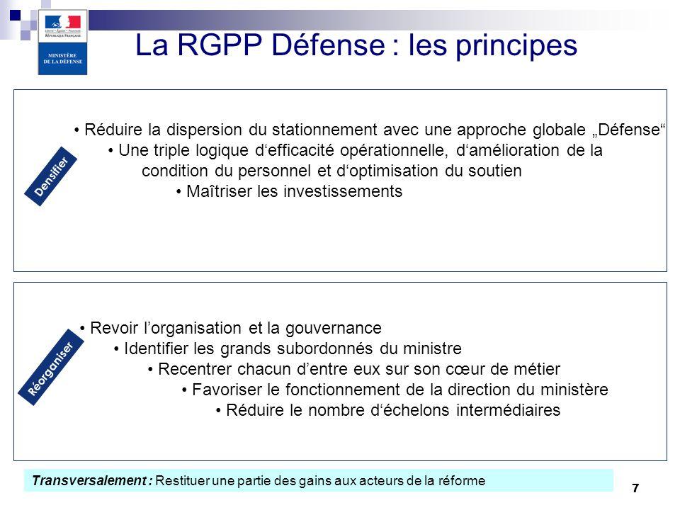 7 La RGPP Défense : les principes Densifier Réduire la dispersion du stationnement avec une approche globale Défense Une triple logique defficacité op