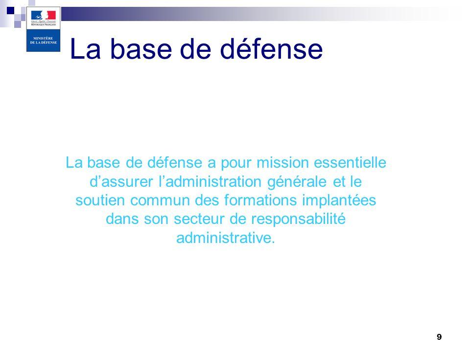 9 La base de défense La base de défense a pour mission essentielle dassurer ladministration générale et le soutien commun des formations implantées da