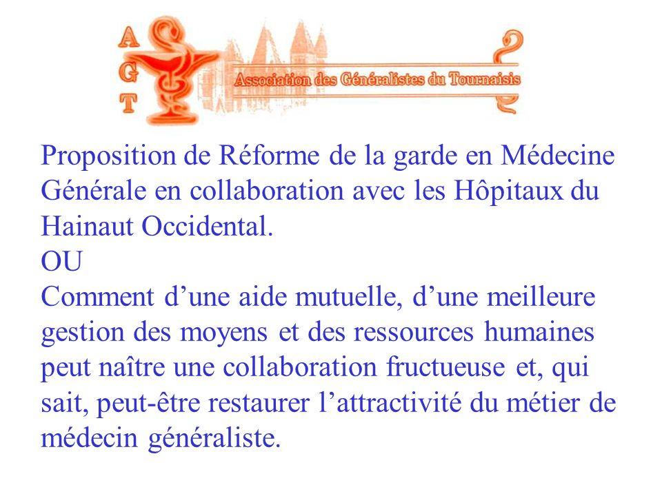 Proposition de Réforme de la garde en Médecine Générale en collaboration avec les Hôpitaux du Hainaut Occidental. OU Comment dune aide mutuelle, dune