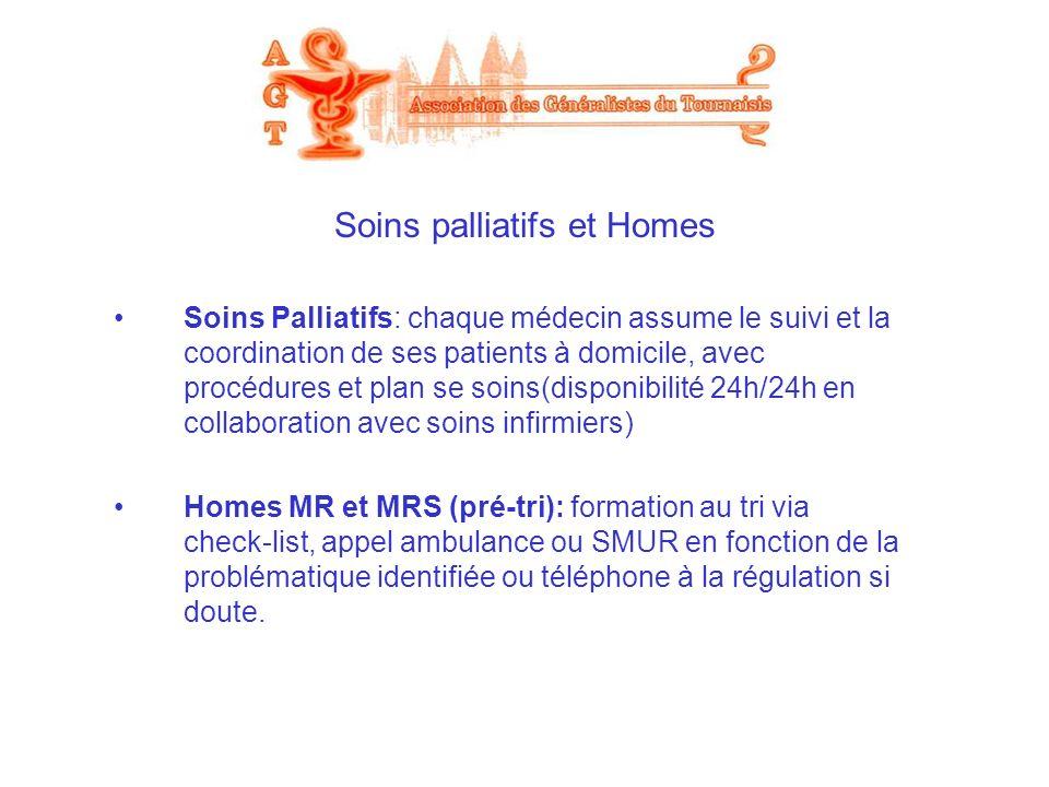 Soins palliatifs et Homes Soins Palliatifs: chaque médecin assume le suivi et la coordination de ses patients à domicile, avec procédures et plan se s