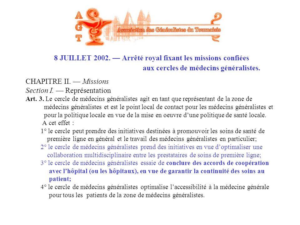 CHAPITRE II. Missions Section I. Représentation Art. 3. Le cercle de médecins généralistes agit en tant que représentant de la zone de médecins généra