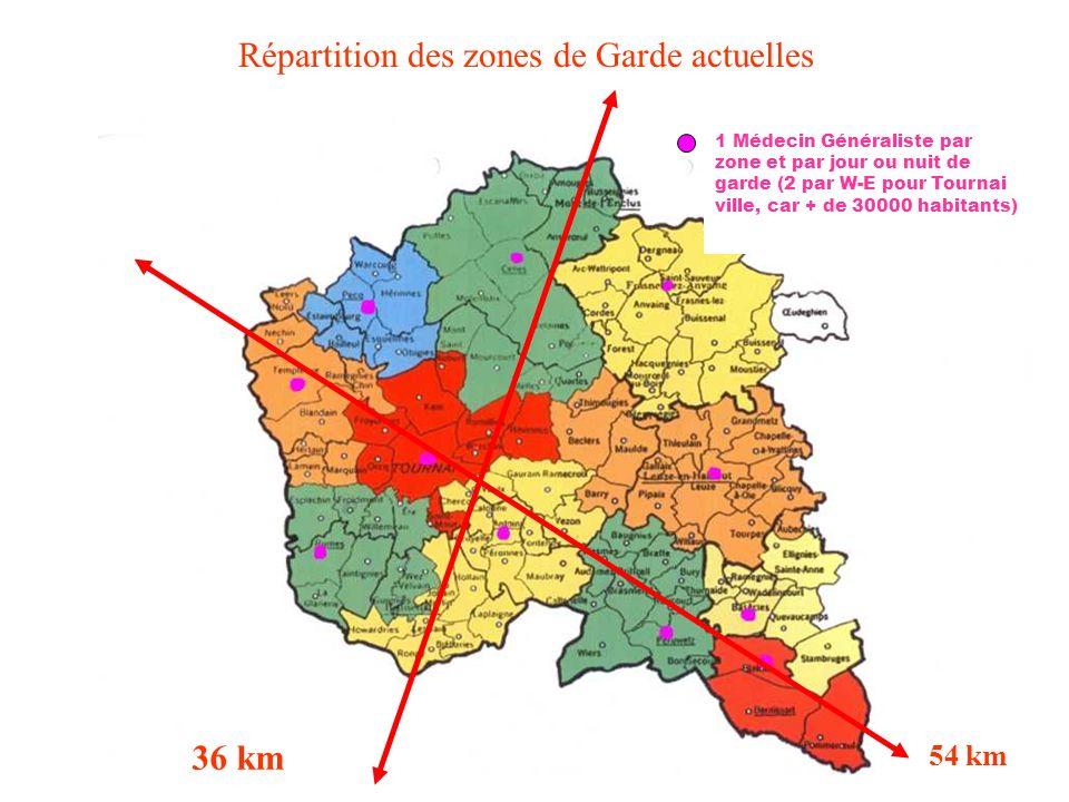 1 Médecin Généraliste par zone et par jour ou nuit de garde (2 par W-E pour Tournai ville, car + de 30000 habitants) Répartition des zones de Garde ac