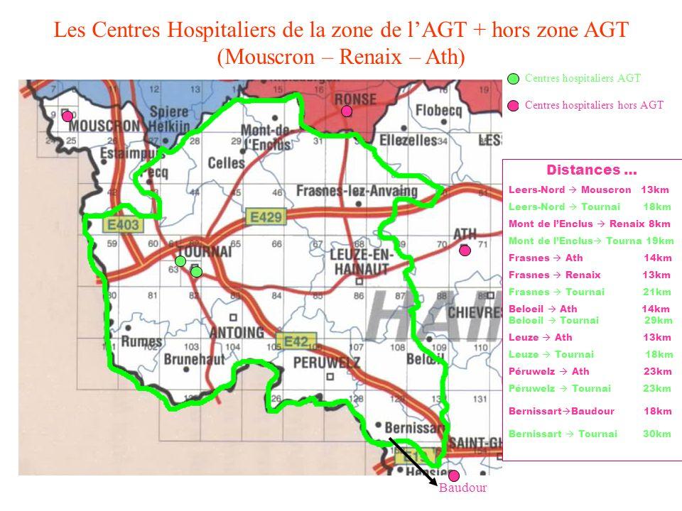 Les Centres Hospitaliers de la zone de lAGT + hors zone AGT (Mouscron – Renaix – Ath) Centres hospitaliers AGT Centres hospitaliers hors AGT Distances