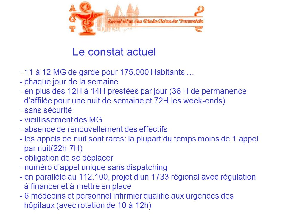Le constat actuel - 11 à 12 MG de garde pour 175.000 Habitants … - chaque jour de la semaine - en plus des 12H à 14H prestées par jour (36 H de perman