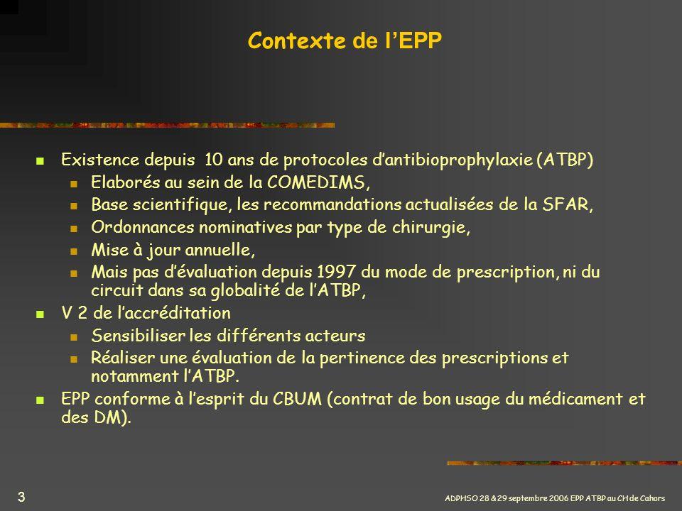 ADPHSO 28 & 29 septembre 2006 EPP ATBP au CH de Cahors 24 EPP ATBP EN CHIRURGIE DE PREMIERE INTENTION CONCLUSIONS Travail pluridisciplinaire : intérêt de lEPP par la réflexion provoquée chez tous les soignants : Chirurgiens, anesthésistes, IDE, biologistes, pharmaciens Sujet a priori simple et pourtant nombreuses difficultés touchant à lorganisation des soins Intérêt pour la pharmacie quant à la sensibilisation des services : à la sécurisation du circuit du médicament (prescription, administration) à lintérêt de linformatisation au bon usage des médicaments (respect protocoles)