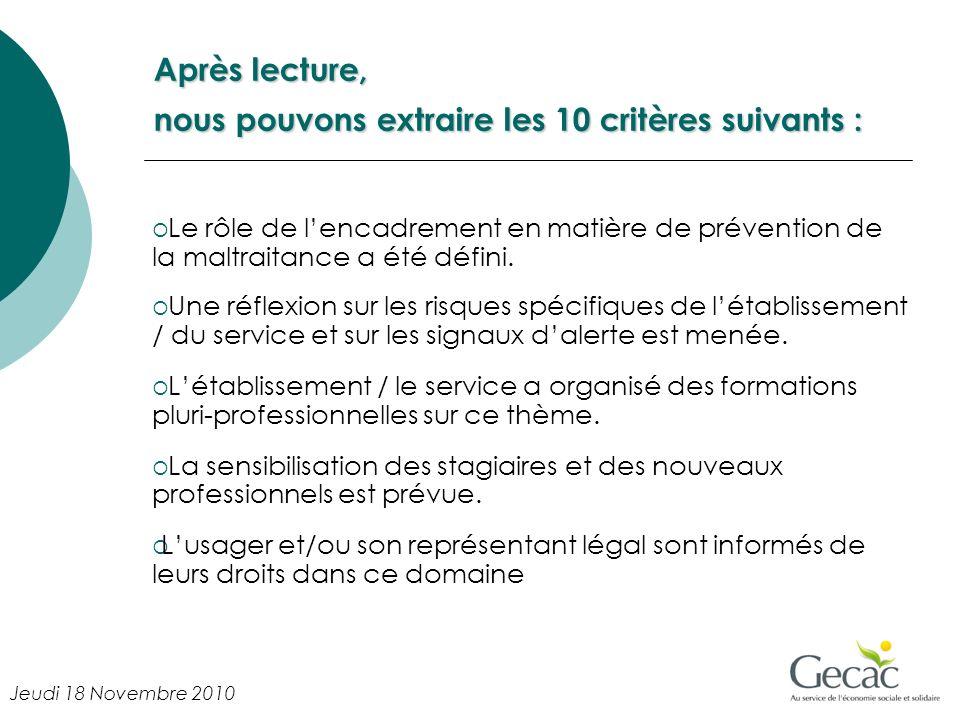 Après lecture, nous pouvons extraire les 10 critères suivants : Le rôle de lencadrement en matière de prévention de la maltraitance a été défini.
