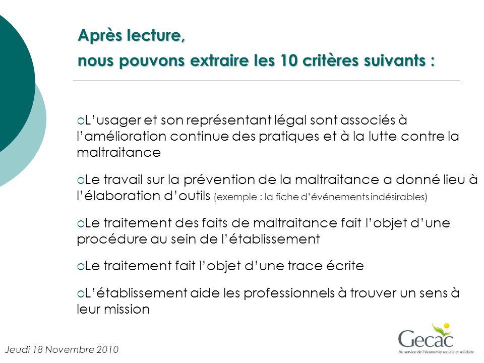 Après lecture, nous pouvons extraire les 10 critères suivants : Lusager et son représentant légal sont associés à lamélioration continue des pratiques