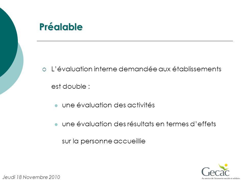 Préalable Lévaluation interne demandée aux établissements est double : une évaluation des activités une évaluation des résultats en termes deffets sur la personne accueillie Jeudi 18 Novembre 2010