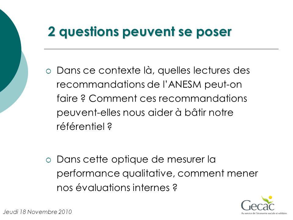 2 questions peuventse poser 2 questions peuvent se poser Dans ce contexte là, quelles lectures des recommandations de lANESM peut-on faire ? Comment c