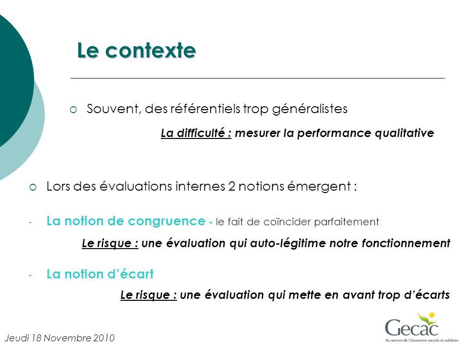 Le contexte Lors des évaluations internes 2 notions émergent : - La notion de congruence - le fait de coïncider parfaitement Le risque : une évaluatio