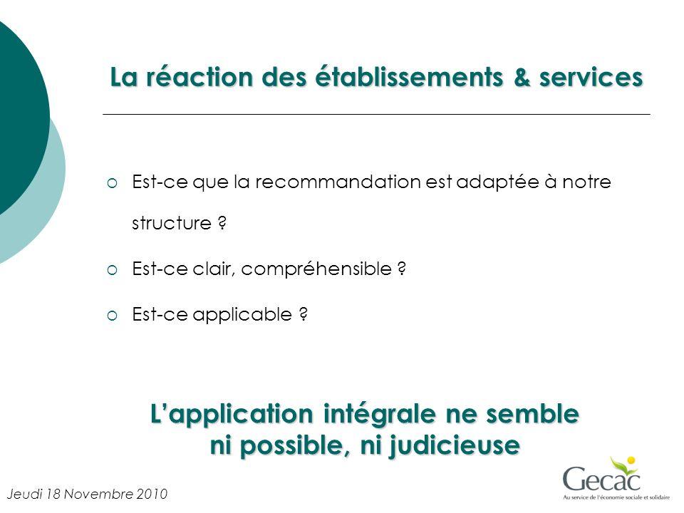 La réaction des établissements & services Est-ce que la recommandation est adaptée à notre structure ? Est-ce clair, compréhensible ? Est-ce applicabl