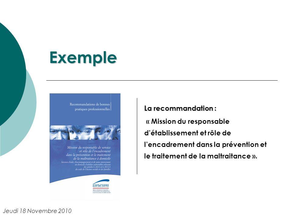 Exemple La recommandation : « Mission du responsable détablissement et rôle de lencadrement dans la prévention et le traitement de la maltraitance ».